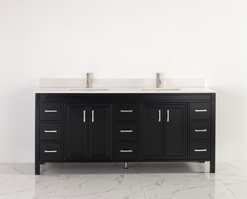 Corniche 75-inch W Vanity in Espresso with Stone Top with Porcelain Basin and Mirror