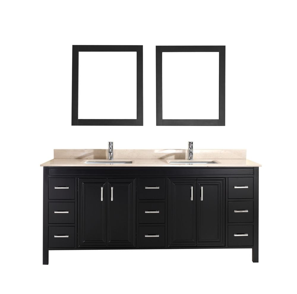 Corniche 75-inch W Vanity in Espresso with Marble Top in Beige with Porcelain Basin and Mirror