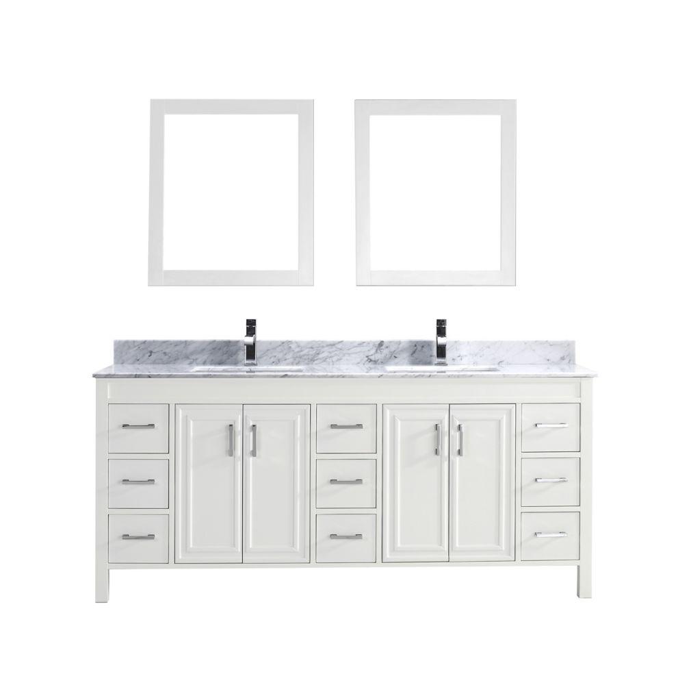 Vanité Corniche 75 de couleur blanc avec miroir et robinet