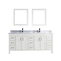Art Bathe Corniche 75-inch W 9-Drawer 4-Door Vanity in White With Marble Top in Grey, Double Basins