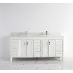 Art Bathe Corniche 75-inch W 9-Drawer 4-Door Vanity in White With Artificial Stone Top in Off-White, 2 Basins