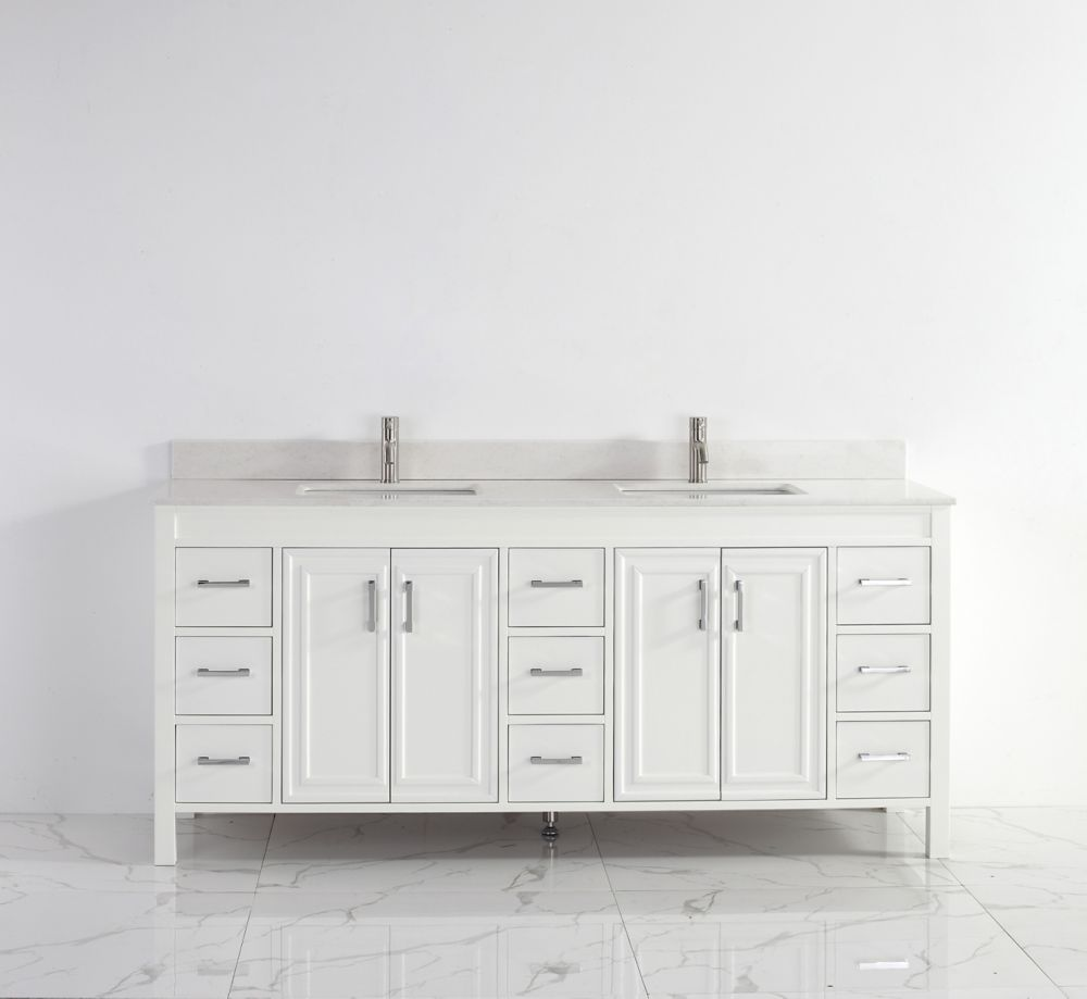 Corniche 75-inch W 9-Drawer 4-Door Vanity in White With Artificial Stone Top in Off-White, 2 Basins