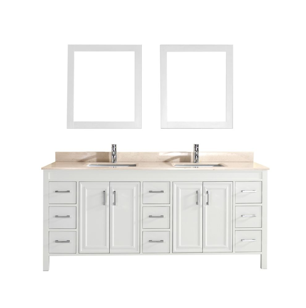 Corniche 75-inch W 9-Drawer 4-Door Vanity in White With Marble Top in Beige Tan, Double Basins