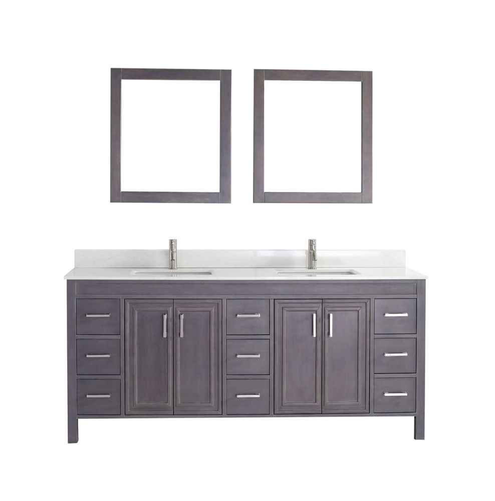 Cornich 75-inch W 9-Drawer 4-Door Vanity in Grey With Artificial Stone Top in Off-White, 2 Basins