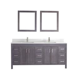 Art Bathe Cornich 75-inch W 9-Drawer 4-Door Vanity in Grey With Artificial Stone Top in Off-White, 2 Basins
