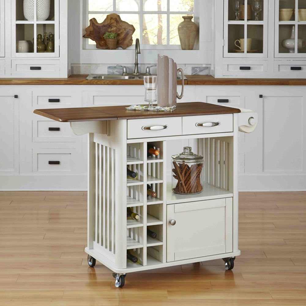 Home Styles Danville Kitchen Cart White Finish The Home