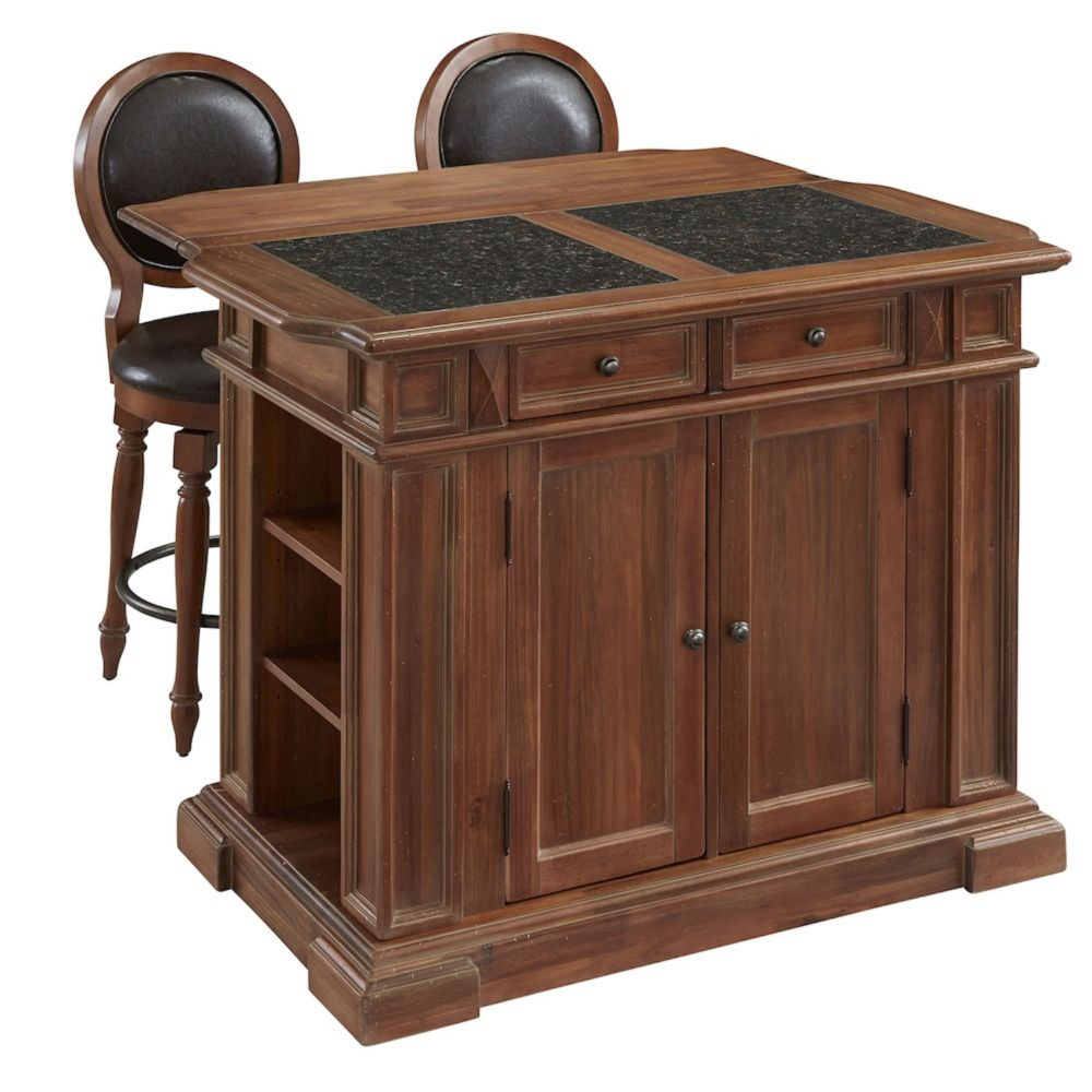 Americana Vintage Kitchen Island And Two Stools