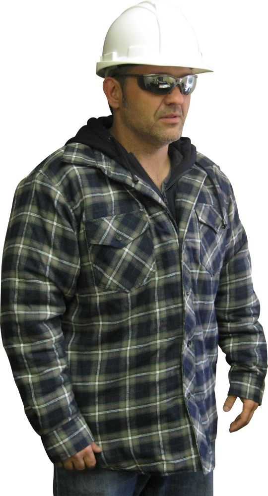 Hooded Quilted Plaid Shirt Medium