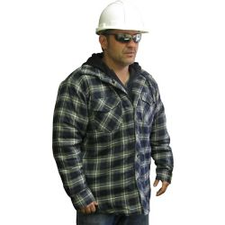 Storm Fighter Hooded Quilted Plaid Shirt Medium