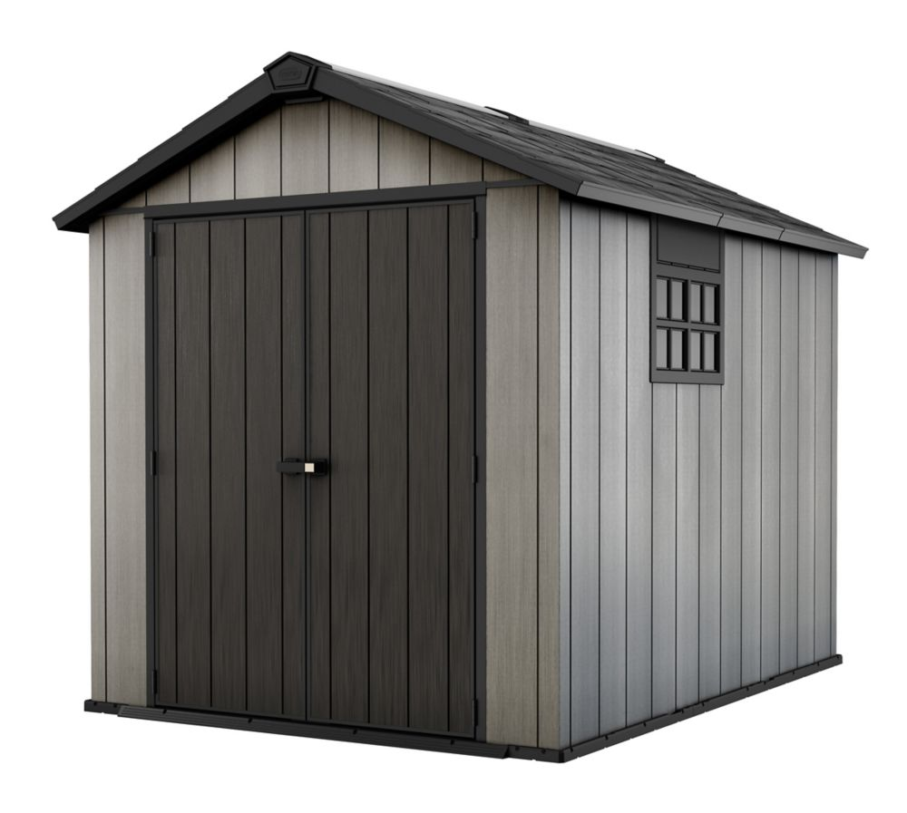 Keter 7 1/2 ft. x 9 ft. Oakland Paintable Resin Shed