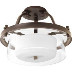 Progress Lighting Indulge Collection 2-Light Antique Bronze Semi-Flushmount