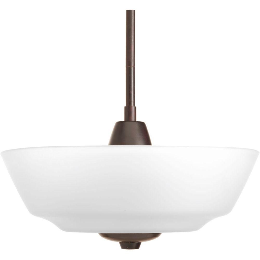 Fluorescente de Semi-plafonnier à 2 Lumières, Collection Asset - fini Bronze à l'Ancienne