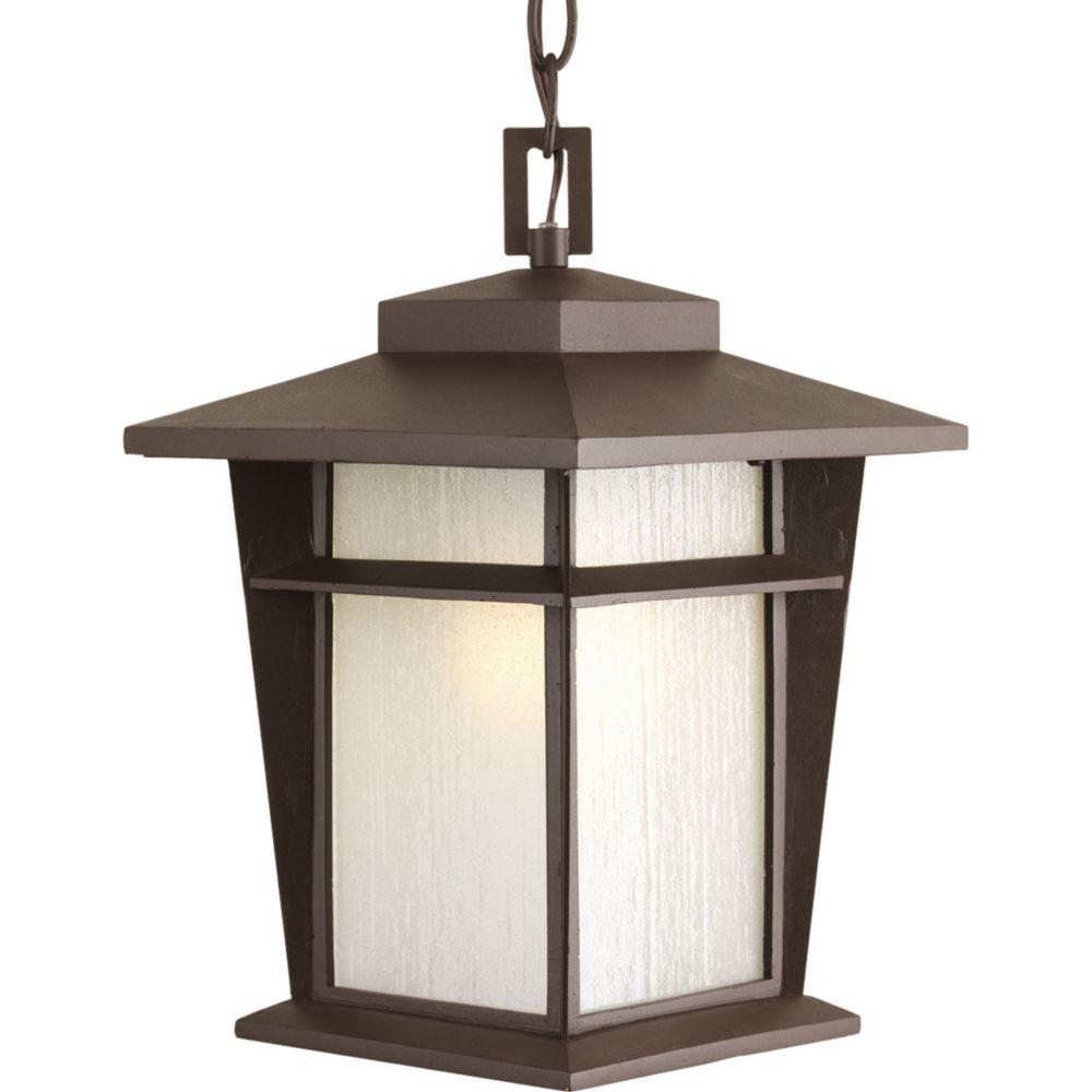 Fluorescente de Lanterne suspendue à 1 Lumière, Collection Loyal - fini Bronze à l'Ancienne