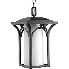 Fluorescente de Lanterne suspendue à 1 Lumière, Collection Promenade - fini Noir