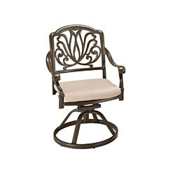Floral Blossom Patio Swivel Chair in Taupe