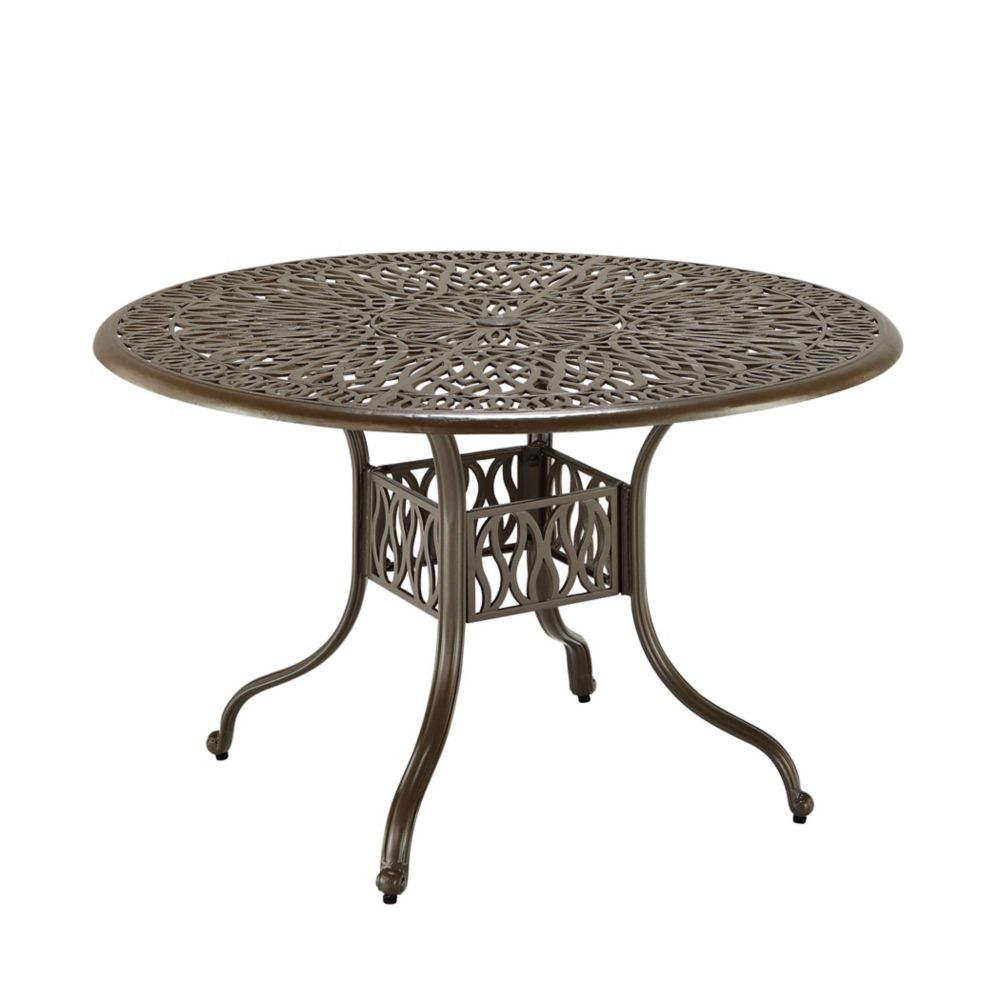 Floral Blossom 42-inch Round Patio Dining Table in Taupe