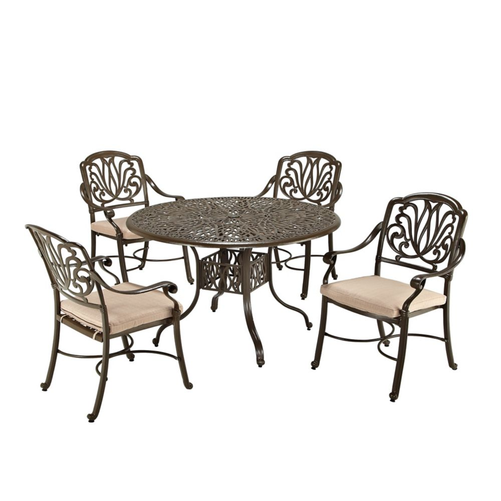 Floral Blossom 5-Piece Dining Set in Taupe
