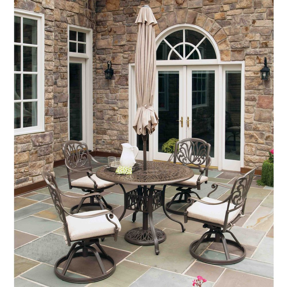 Floral Blossom Floral Blossom 5-Piece Patio Dining Set with 42-inch Round Table and Swivel Chairs & Umbrella in Black