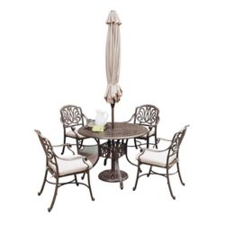 Floral Blossom 5-Piece Patio Dining Set with 48-inch Round Table, Arm Chairs and Umbrella in Black