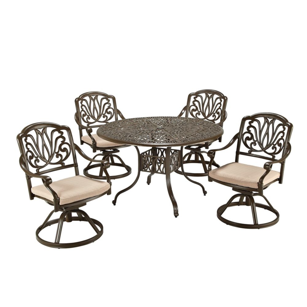 Floral Blossom 5-Piece Patio Dining Set with 48-inch Round Table and Swivel Chairs in Black