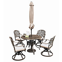 Floral Blossom 5-Piece Patio Black Dining Set with 48 inch Round Table and Swivel Chairs & Umbrella