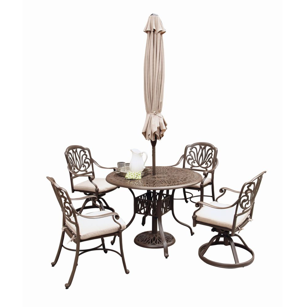 Floral Blossom 5-Piece Patio Dining Set with 48-inch Round Table, Dining Chairs & Umbrella in Black