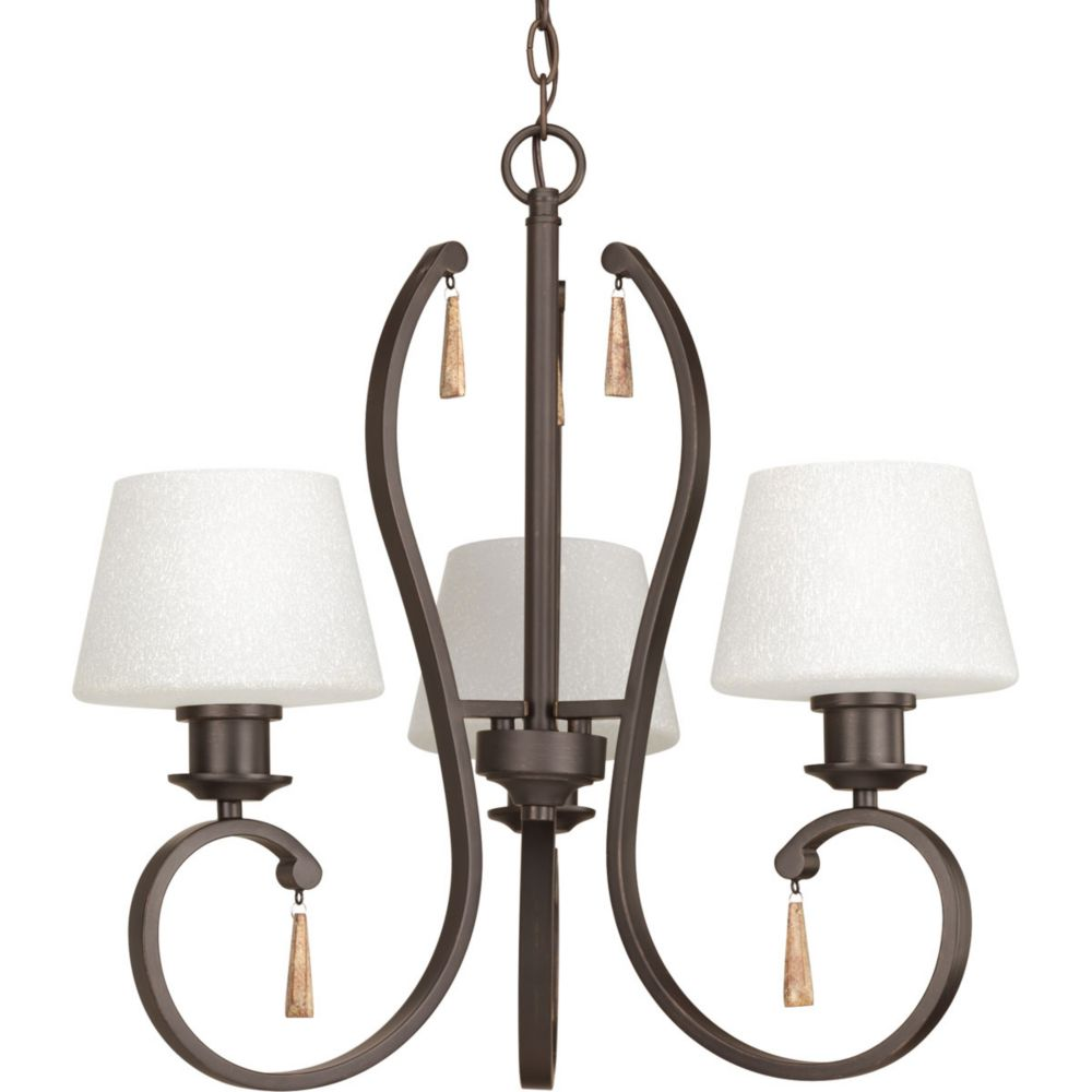 Progress Lighting Club Collection 3-Light Antique Bronze Chandelier