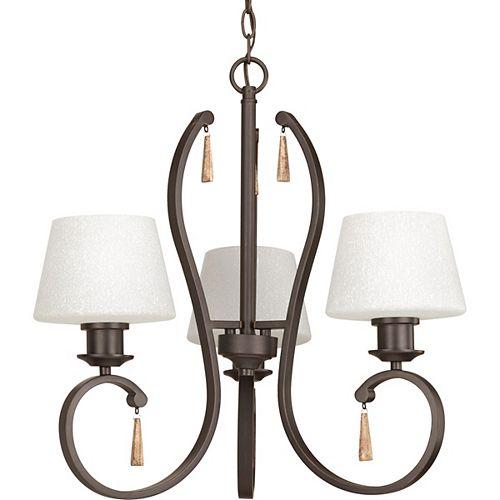 Progress Lighting Club Collection 3-Light Antique Bronze Chandelier