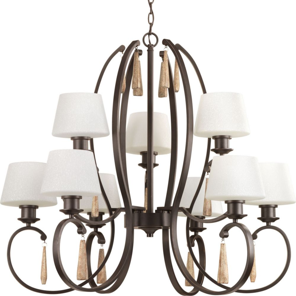 Club Collection 9-Light Antique Bronze Chandelier