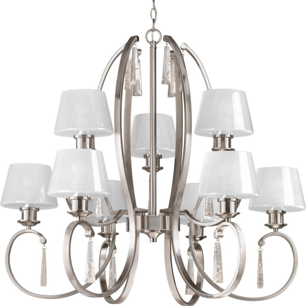 Dazzle Collection 9-Light Brushed Nickel Chandelier