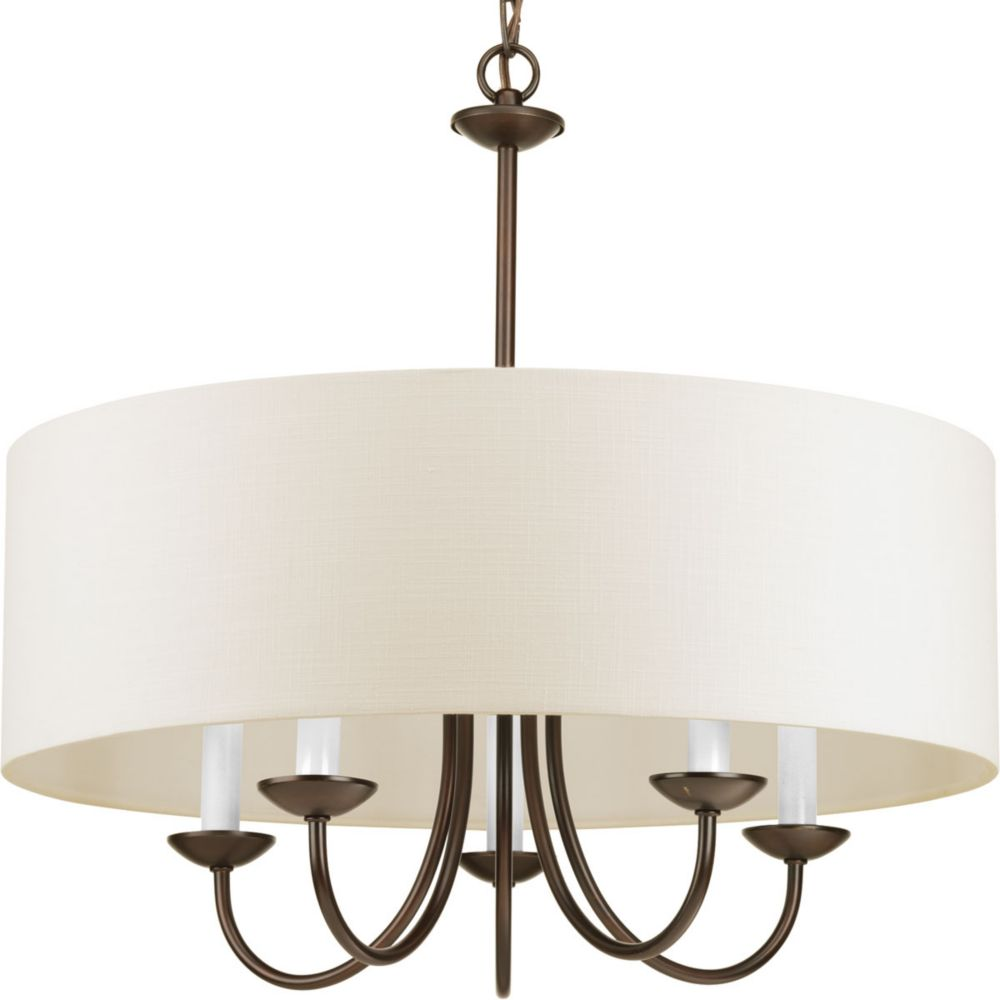Chandeliers the home depot canada 5 light chandelier with shade in antique bronze aloadofball Gallery
