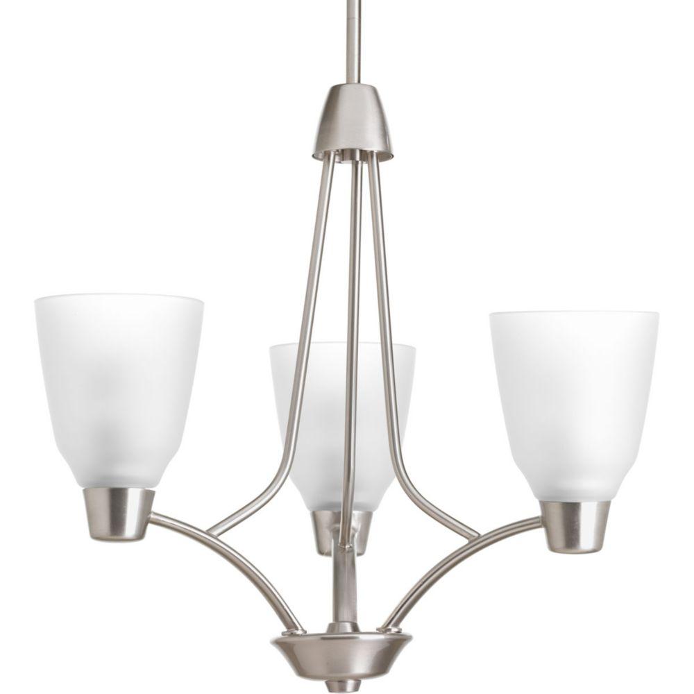 Fluorescente de Lustre à 3 Lumières, Collection Asset - fini Nickel Brossé