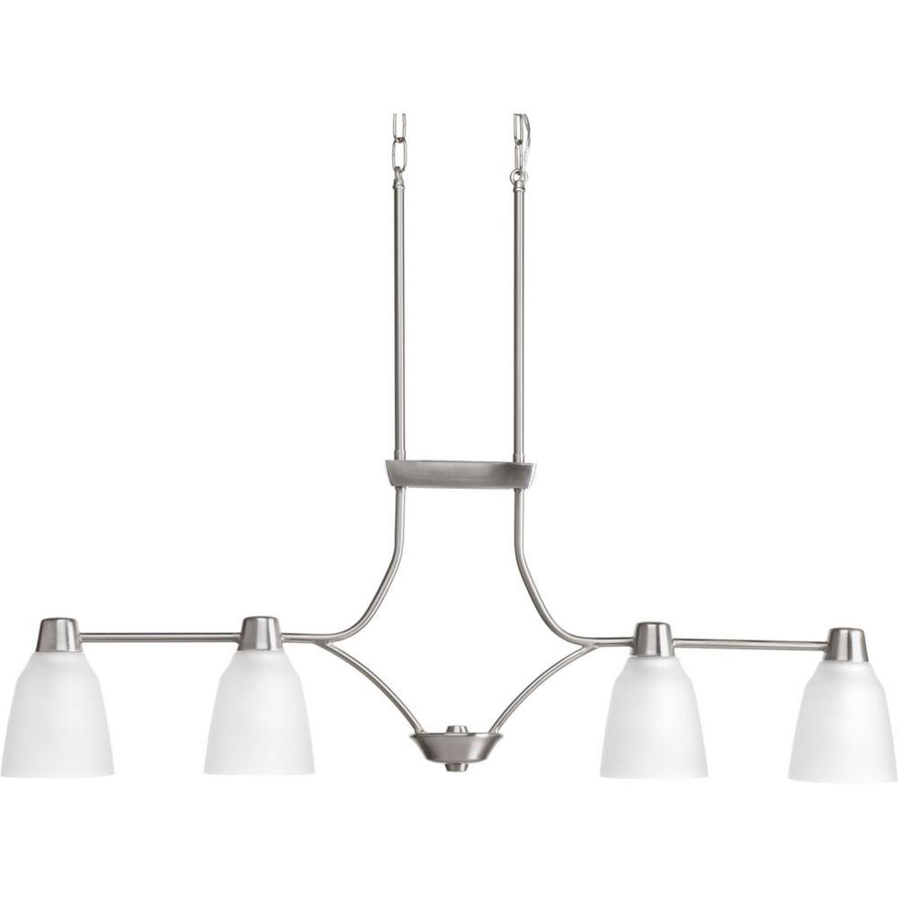 Fluorescente de Lustre à 4 Lumières, Collection Asset - fini Nickel Brossé