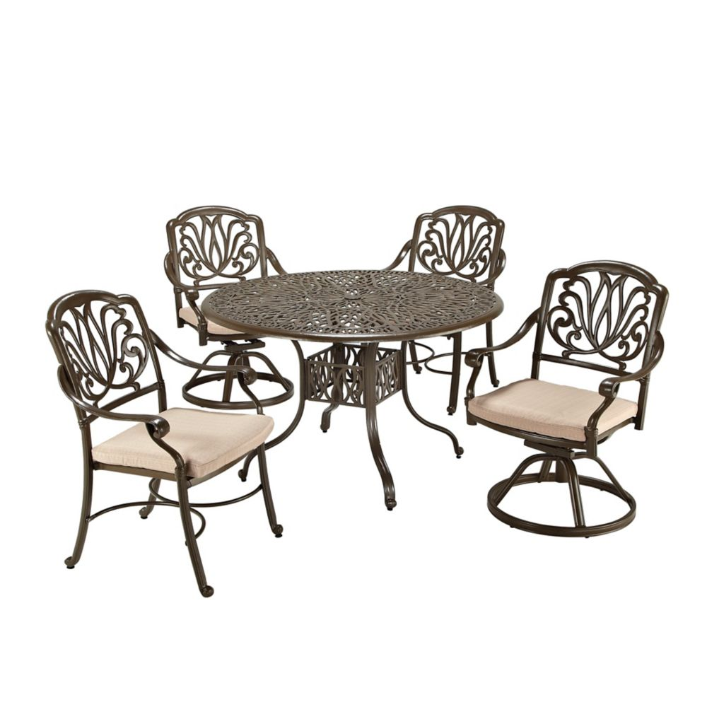 Floral Blossom Floral Blossom 5-Piece Patio Dining Set with 48-inch Round Table and Dining Chairs in Black