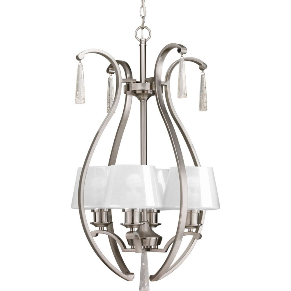 Progress Lighting Dazzle Collection 4-Light Brushed Nickel Foyer Pendant