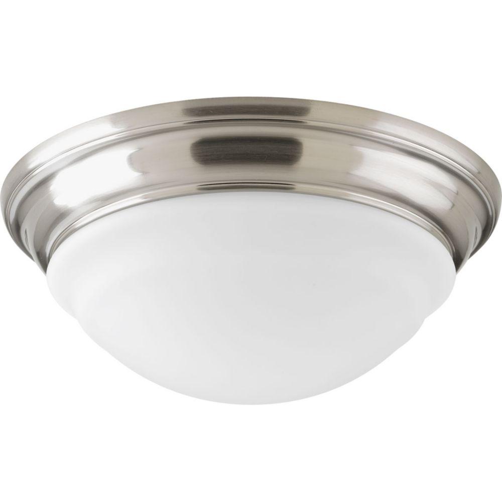 Plafonnier d'DEL à 1 Lumière, Collection Progress LED - fini Nickel Brossé