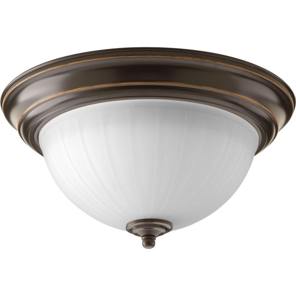 Plafonnier d'DEL à 1 Lumière, Collection Progress LED - fini Bronze à l'Ancienne
