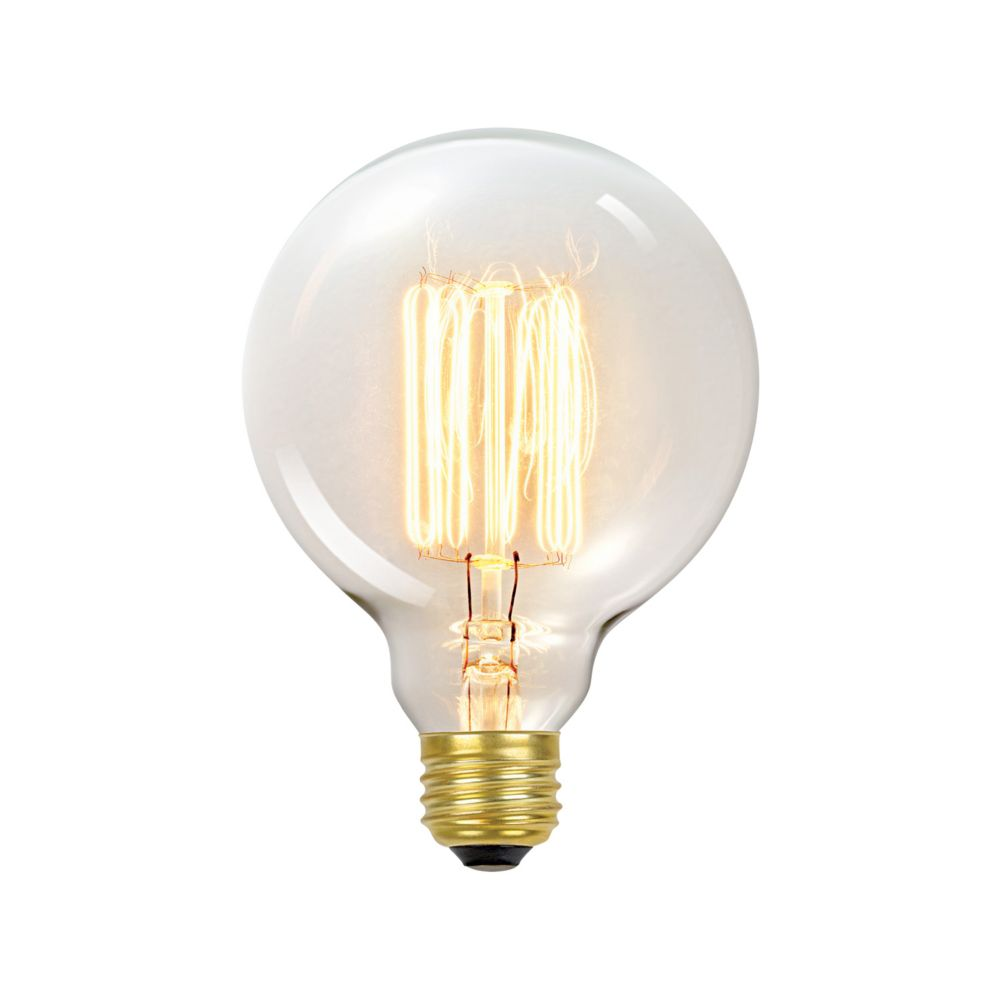 01320 60W Vintage Edison G30 Vanity Tungsten Incandescent Filament Light Bulb, E26 Base
