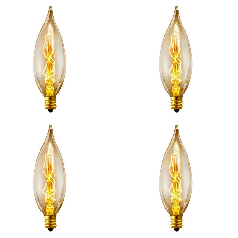 01327 25W Vintage Edison B10 Flame Tip Incandescent Filament Light Bulb, E12 Base, 4 Pack
