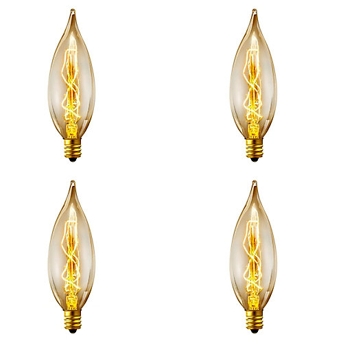 Ampoule à incandescence style flamme vintage CA10 Edison, culot moyen E12, 25 W, 4/paq.