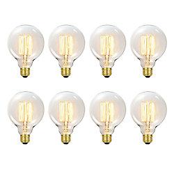 Globe Electric 31320 60W Vintage Edison G30 Vanity Tungsten Incandescent Filament Light Bulbs, E26 Base, (8-Pack)