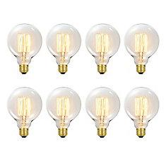 31320 60W Vintage Edison G30 Vanity Tungsten Incandescent Filament Light Bulbs, E26 Base, 8 Pack