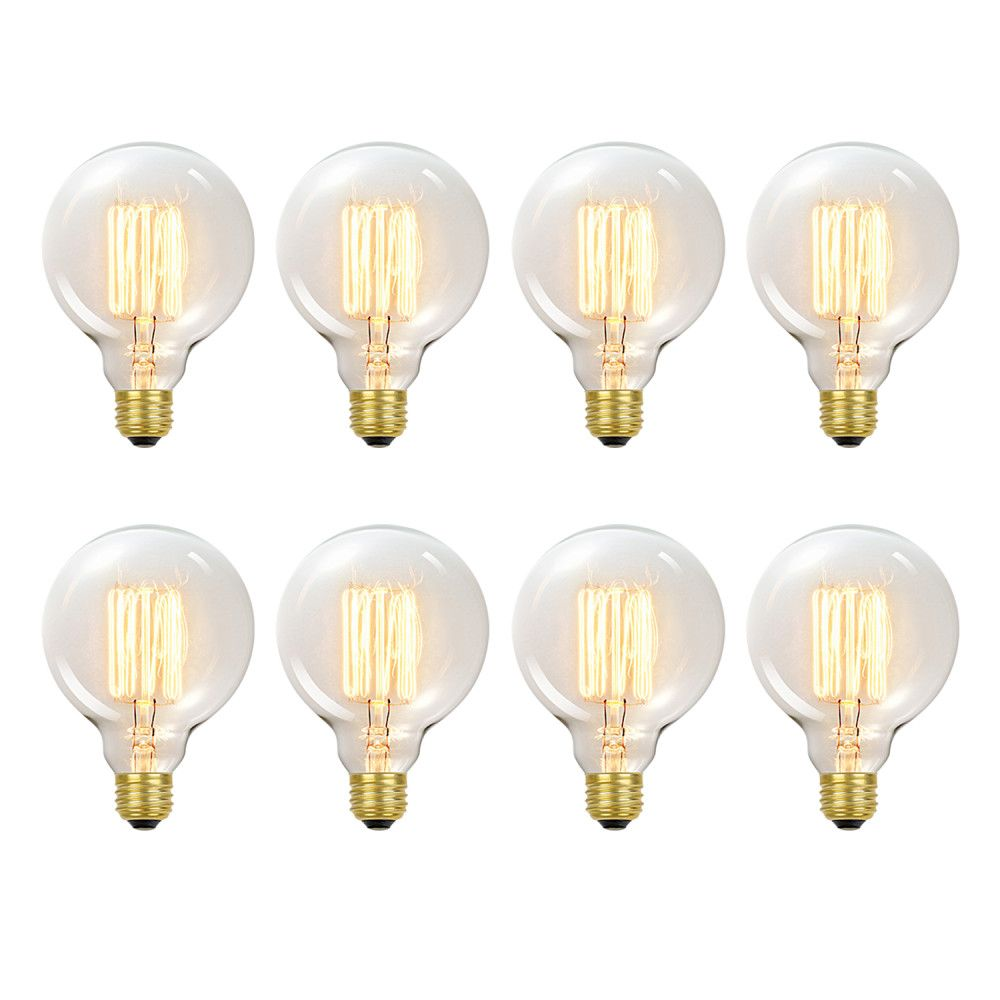 Ampoule Vintage edison incandescent G40 60 watt, couleur edison antique, paquet de 8