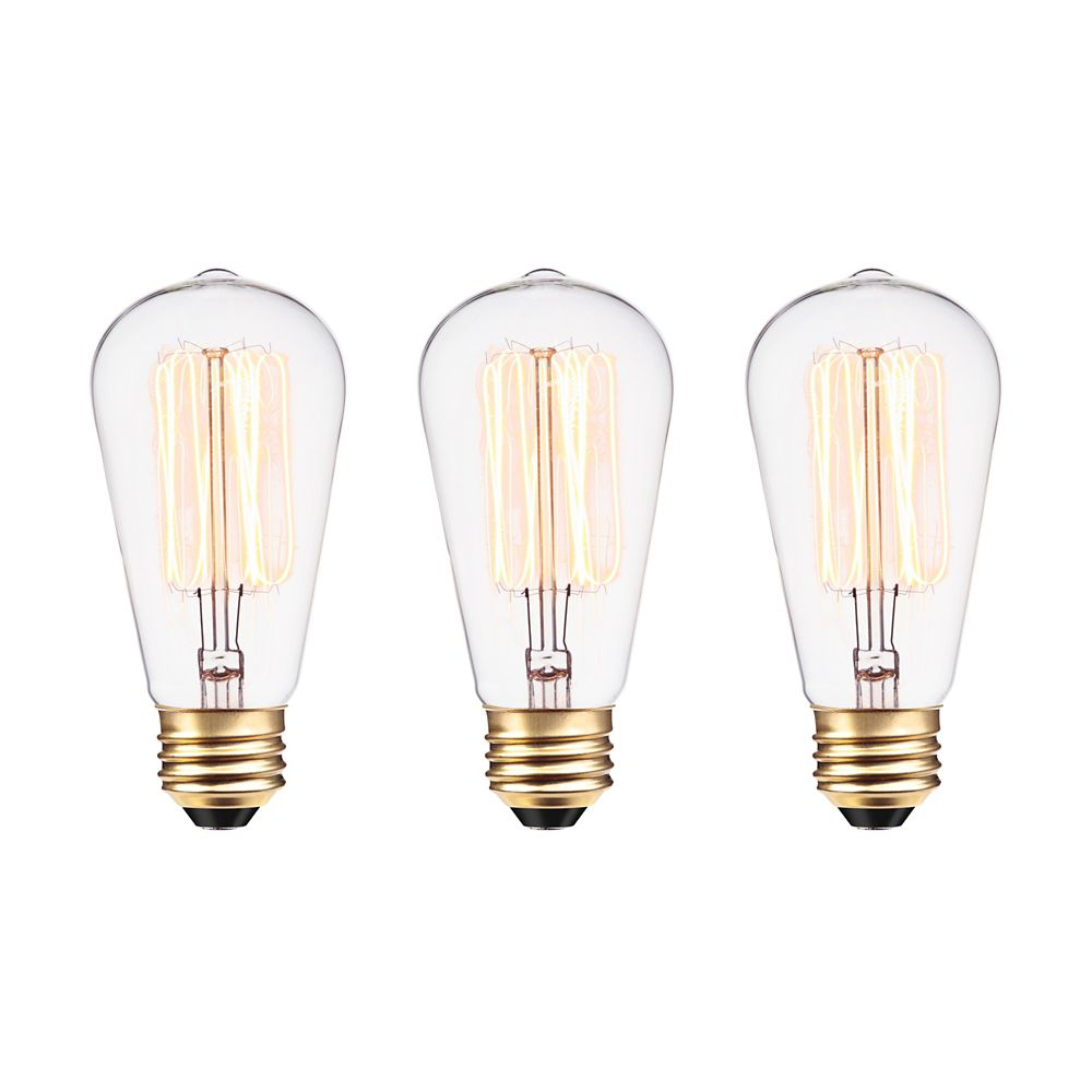 Ampoule Vintage edison incandescent S60 60 watt, couleur edison antique, paquet de 3