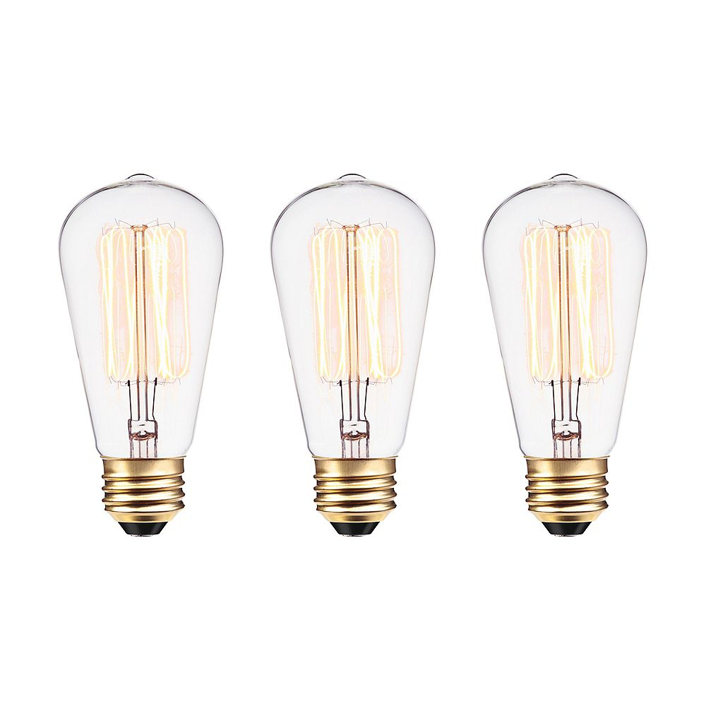 Globe Electric Edison Vintage 60W Incandescent S60 Squirrel Cage Vintage Filament Light Bulb with E26 Base (3-Pack)