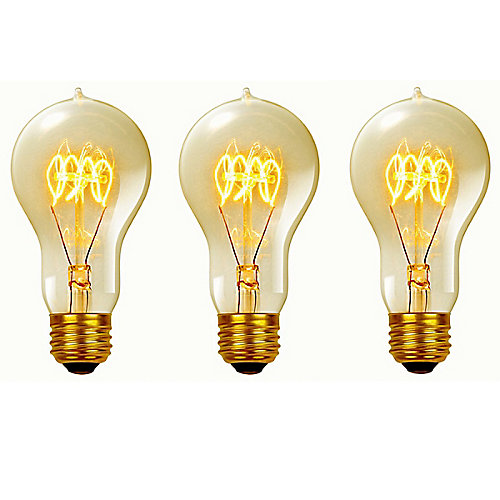 60 Watt Vintage Edison A19 Quad Loop Incandescent Filament Light Bulb,E26 Base,Antique Edison, (3-Pack)