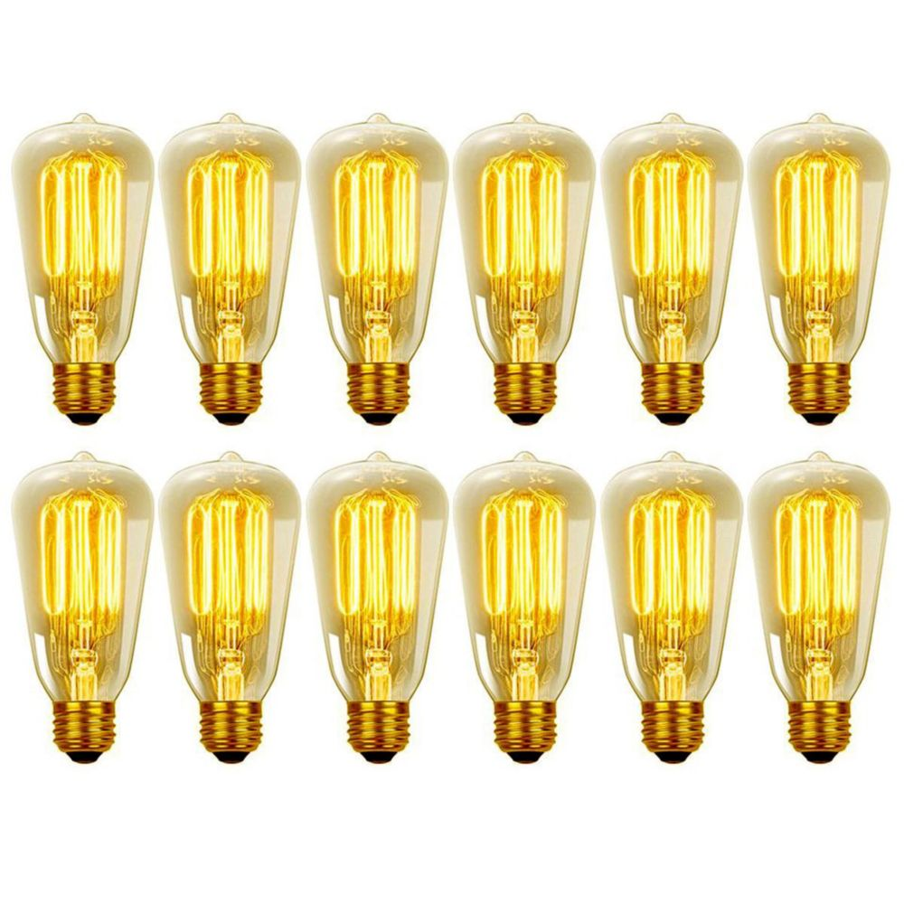Ampoule Vintage edison incandescent S60 60 watt, couleur edison antique, paquet de 12
