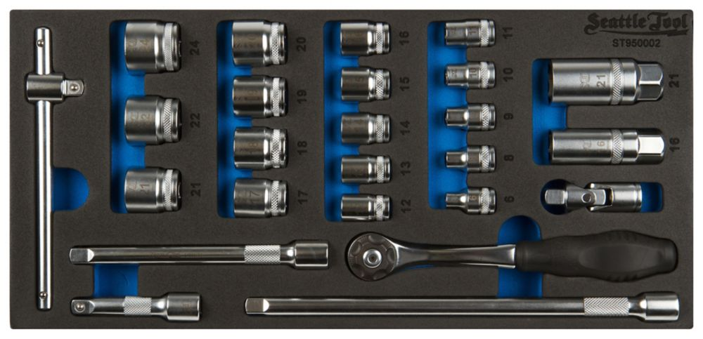 3/8 Inch Socket and Driver Set - 25 Pieces Metric