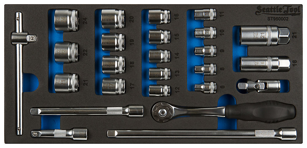 25-Piece 3/8 Inch Socket and Driver Set - Metric