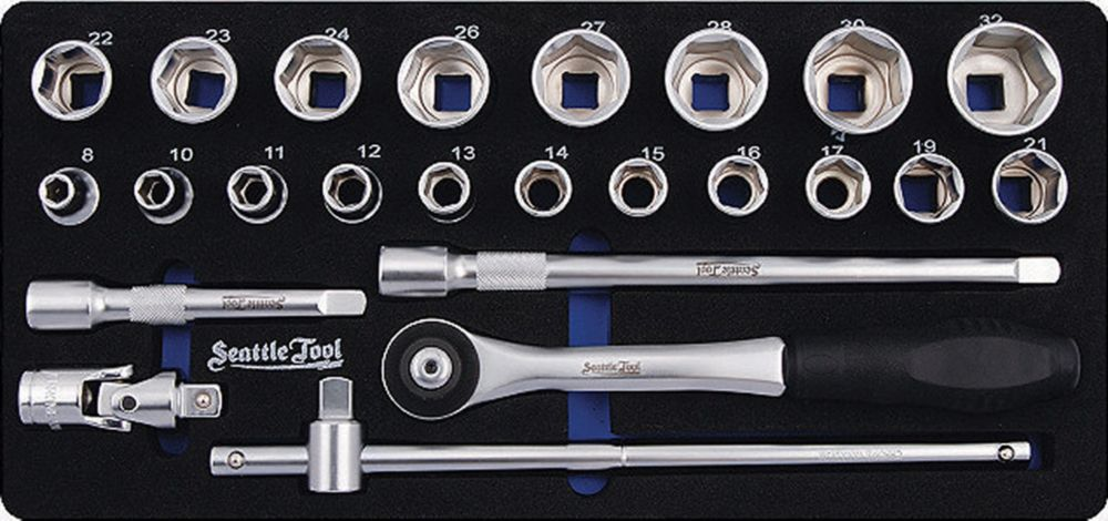 1/2 Inch Socket and Driver Set - 24 Pieces Metric